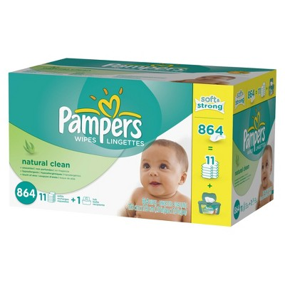 Pampers Natural Clean Baby Wipes - 864 ct