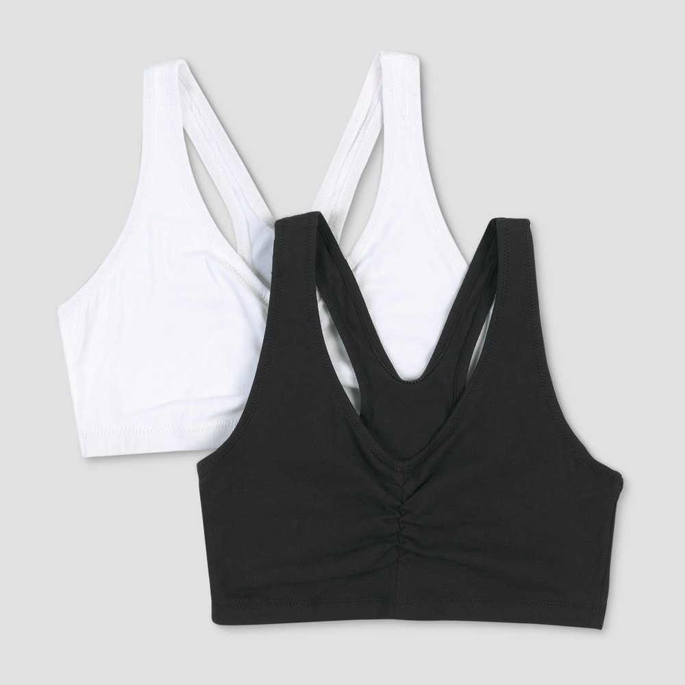 Hanes Womens ComfortFlex Fit Stretch Cotton Sport Bra H570 2pk - White/Black L