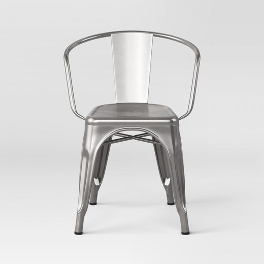 Black Metal Dining Chairs carlisle metal dining chair - natural metal (set of 2) : target