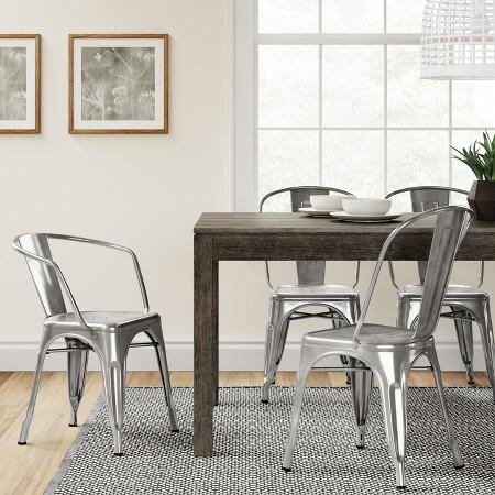 Carlisle Metal Dining Chair - Natural Metal (Set of 2)