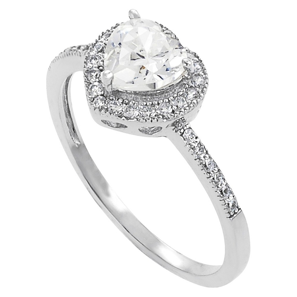 Tressa Sterling Silver Cubic Zirconia Heart Bridal and Engagement Ring - Silver, Womens, Size: Small