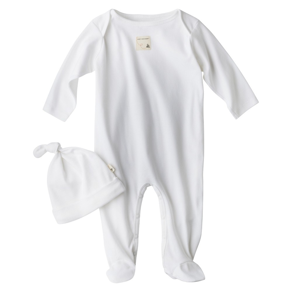 Burts Bees Baby Newborn Coverall and Hat - Cloud, Newborn Unisex, Size: 3-6 M, White
