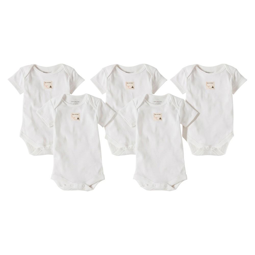 Burts Bees Baby Newborn Organic 5 Pack Short Sleeve Lap Shoulder Bodysuit - Cloud 0-3 M, Newborn Boys, Blue/Cloud