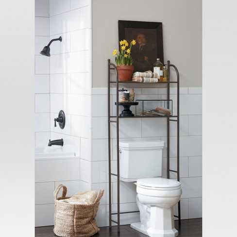 target home oil rubbed metal over toilet space saver tagre bronze threshold target - Over The Toilet Space Saver