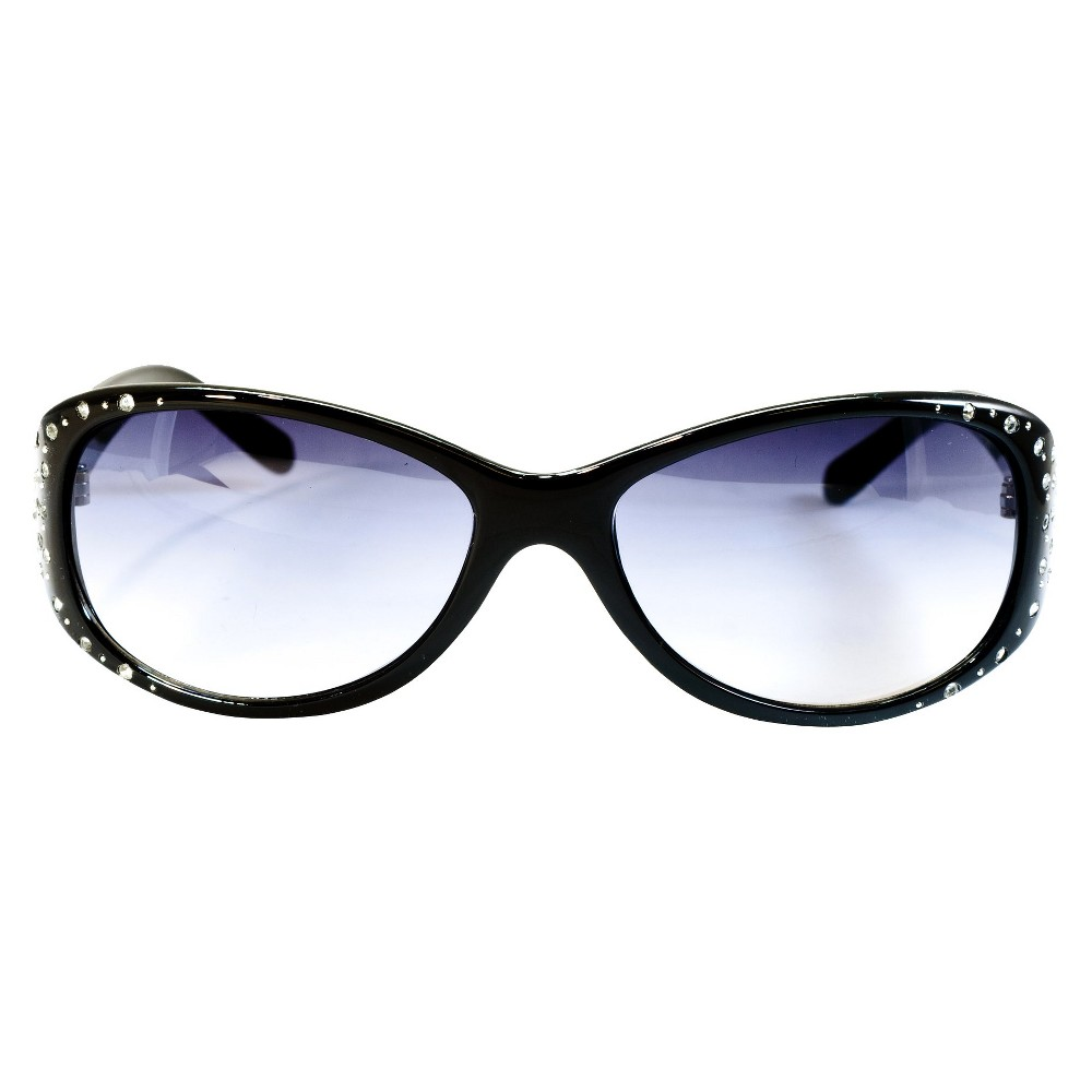 Womens Round Sunglasses with Rhinestone Accented Temples - Black