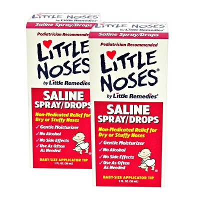Little Noses® Saline Spray and Drops Bundle For Dry or Stuffy Nose - 1 oz