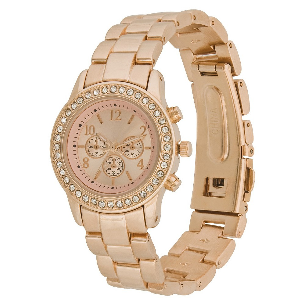 Womens Boyfriend Watch with Rhinestones - Rose Gold - Merona, Size: Large