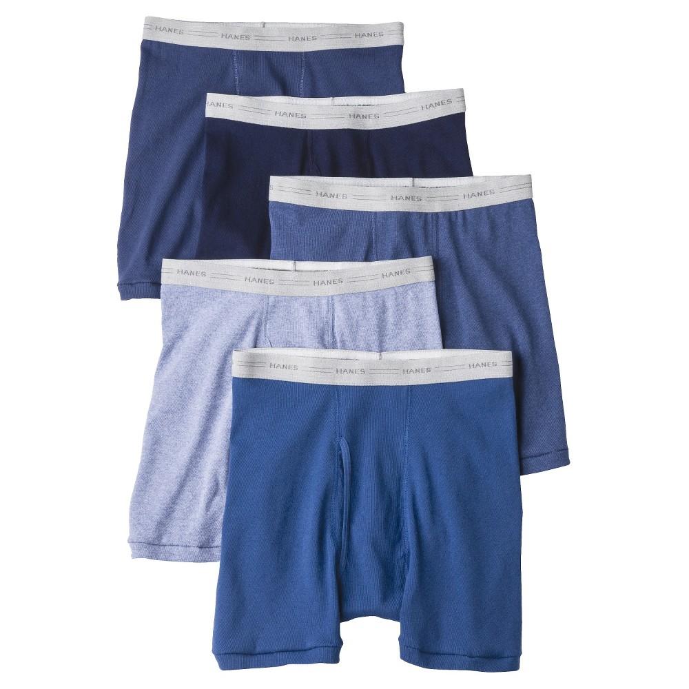 Hanes Mens 5pk Boxer Briefs - Blue L, Multicolored