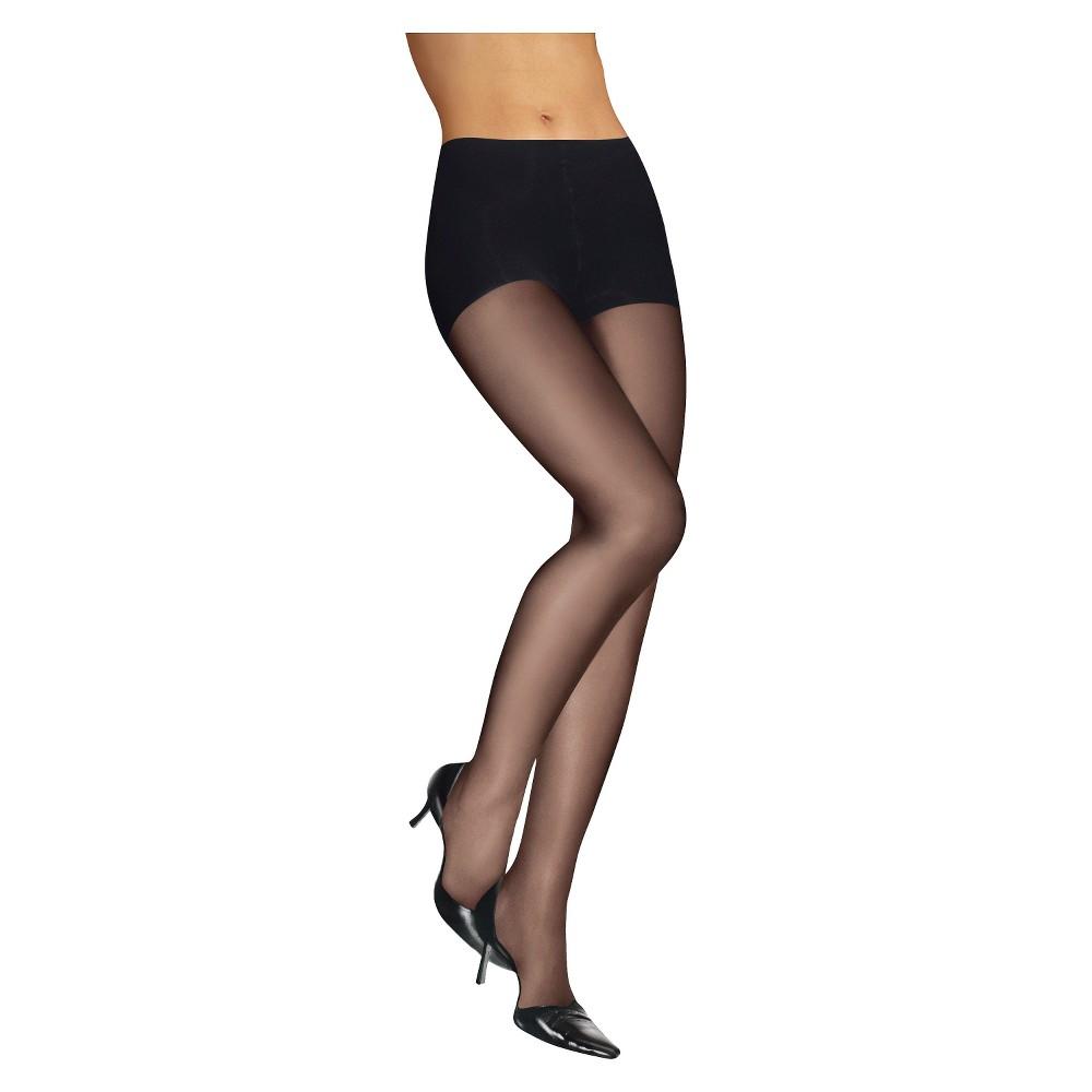 Leggs Womens Silken Mist No Waist Pantyhose - Jet Black S