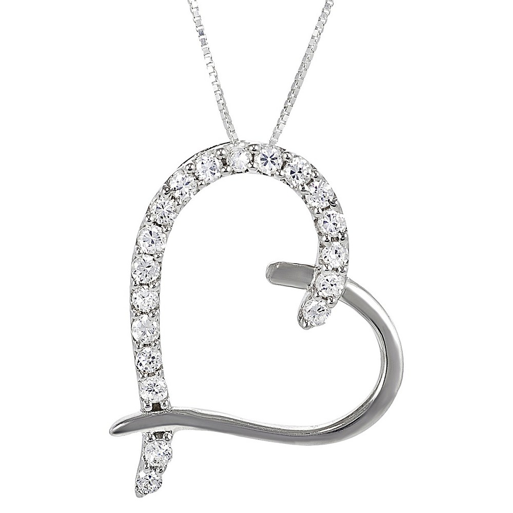 Sterling Silver Cubic Zirconia Heart Necklace - Silver, Womens
