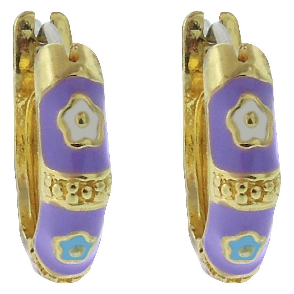 Ellen 18k Gold Overlay Enamel Flower Design Hoop Earrings - Lavender, Girls
