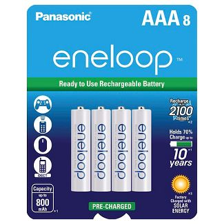 Panasonic eneloop AAA 2100 cycle, Ni-MH Pre-Charged Rechargeable Batteries - 8 Pack
