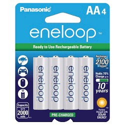 Panasonic eneloop AA 2100 cycle, Ni-MH Pre-Charged Rechargeable Batteries - 4 Pack