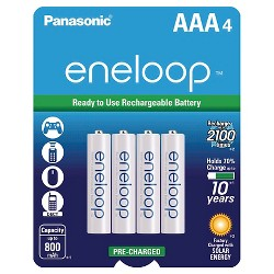 Panasonic eneloop AAA 2100 cycle, Ni-MH Pre-Charged Rechargeable Batteries - 4 Pack