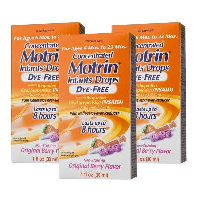 Motrin® Infants Pain Reliever and Fever Reducer Berry Drops - 3 Count (1 oz each)