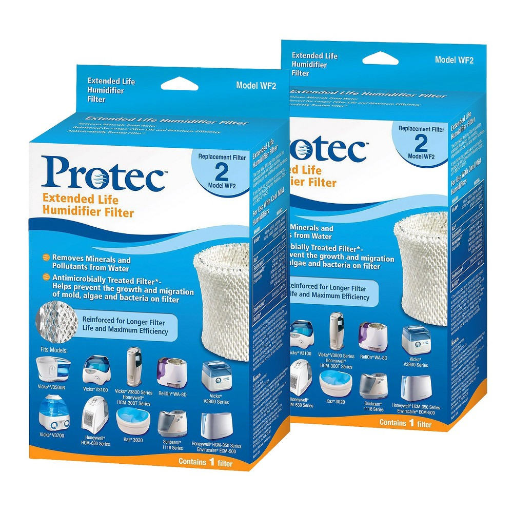 Protec Replacement Humidifier Filter - 2 Count, White/Blue