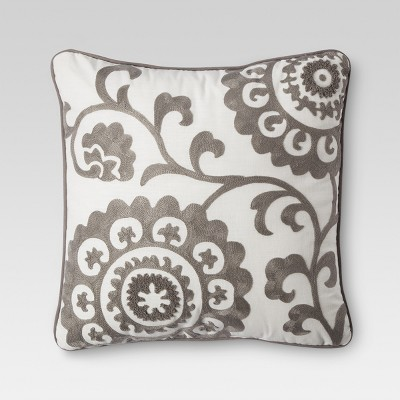 Gray Suzani Embroidered Throw Pillow (18 x18 )- Threshold™