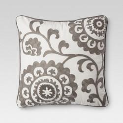 "Gray Suzani Embroidered Throw Pillow (18""x18"") - Threshold™"