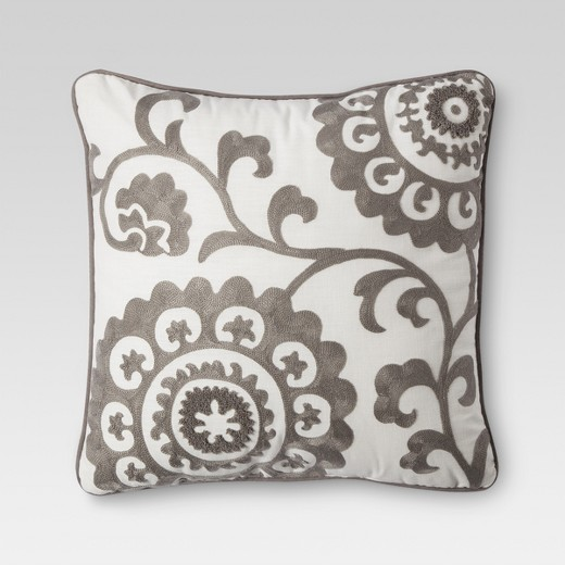 Gray Suzani Embroidered Throw Pillow 18 Quot X18 Quot Threshold