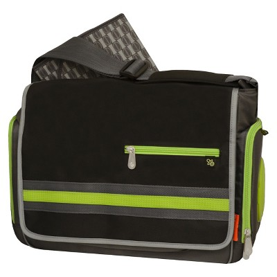 Fisher-Price Urban Messenger Diaper Bag - Black, Lime, Gray
