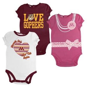 Minnesota Gophers Newborn Girls 3pk Body Suit White S, Newborn Girl