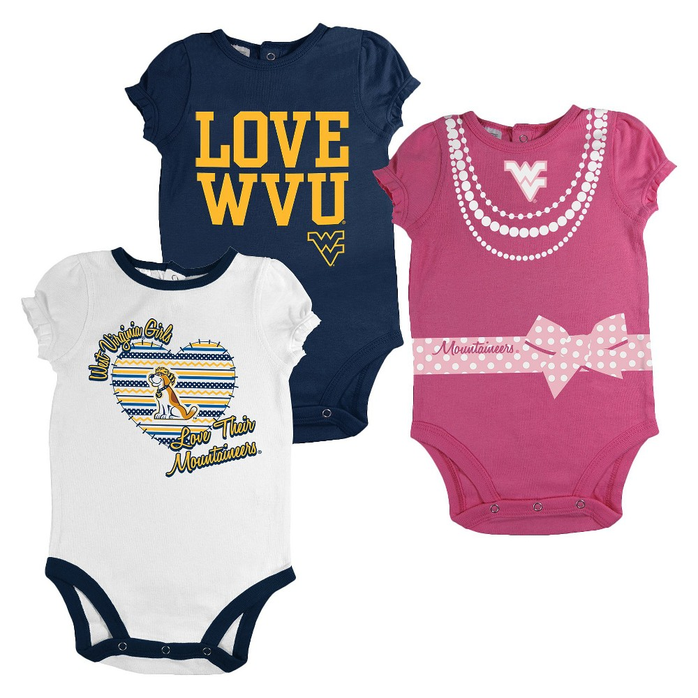 West Virginia Mountaineers Newborn Girls 3pk Body Suit White S