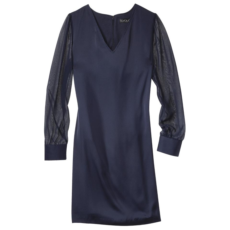 TEVOLIO Womens Shift Dress w/Sheer Sleeve   Xavier Navy   8