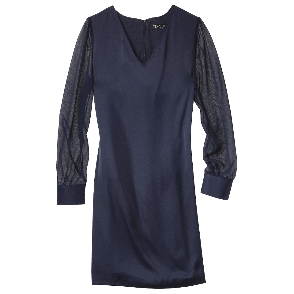 TEVOLIO Womens Shift Dress w/Sheer Sleeve   Xavier Navy   4