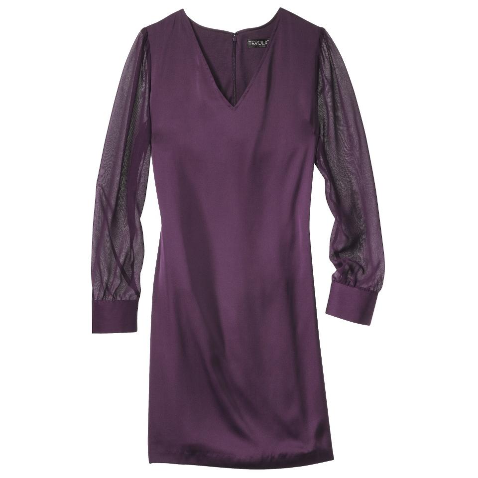 TEVOLIO Womens Shift Dress w/Sheer Sleeve   Purple Duet   14