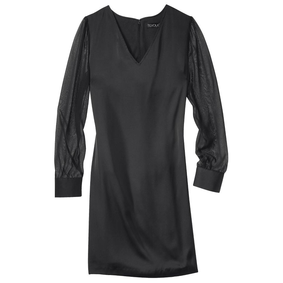 TEVOLIO Womens Shift Dress w/Sheer Sleeve   Black   10