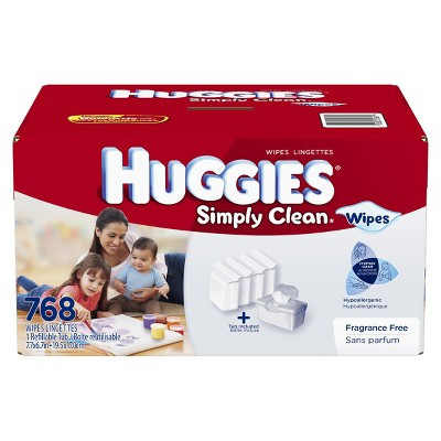 Huggies Simply Clean Baby Wipes Refill with Tub - 768 ct