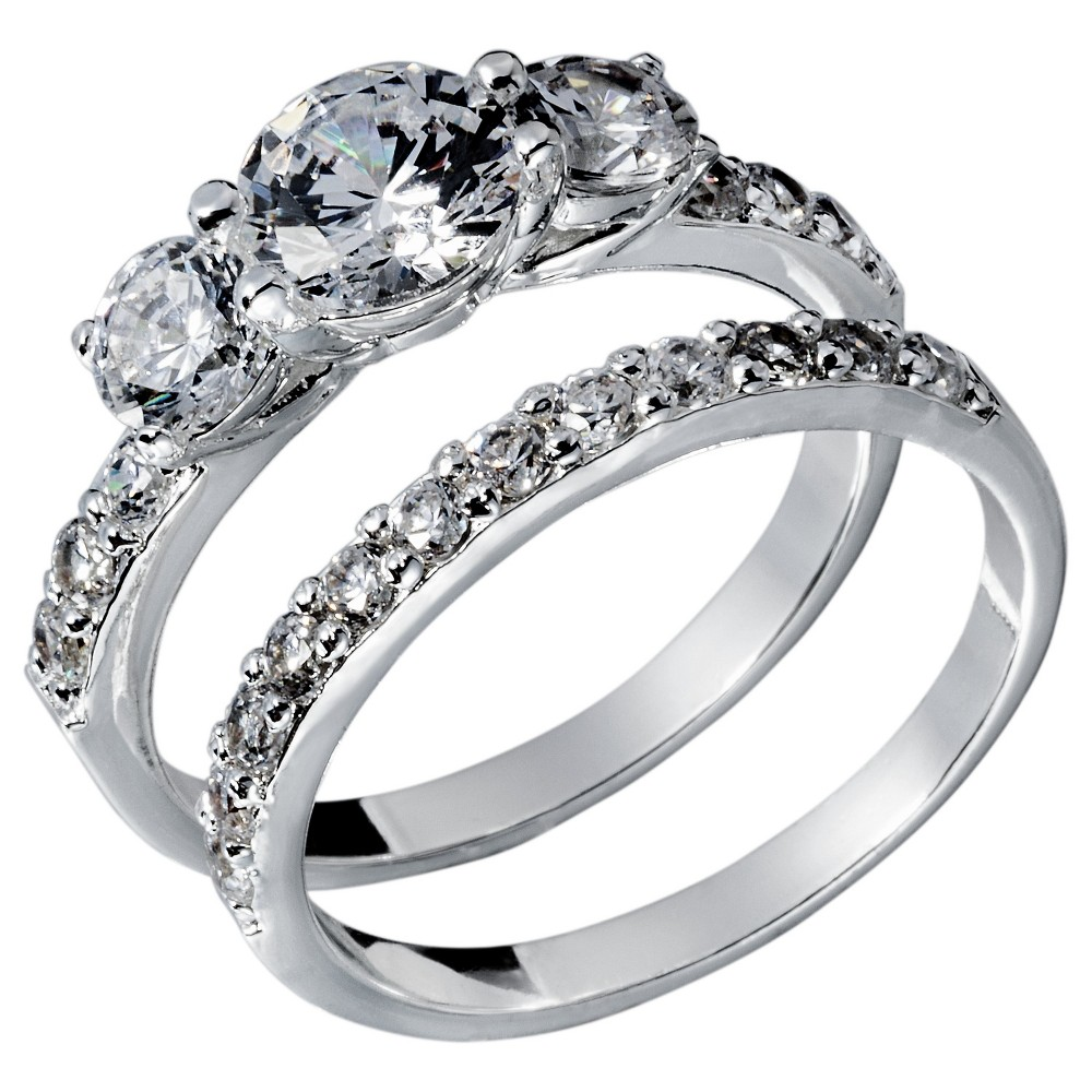 Cubic Zirconia Engagement Ring - Silver, Womens