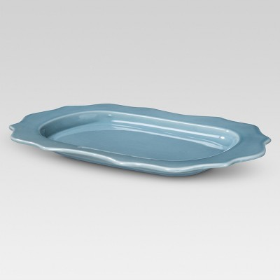Wellsbridge Rimmed Serving Platter 14x10in Aqua - Threshold™