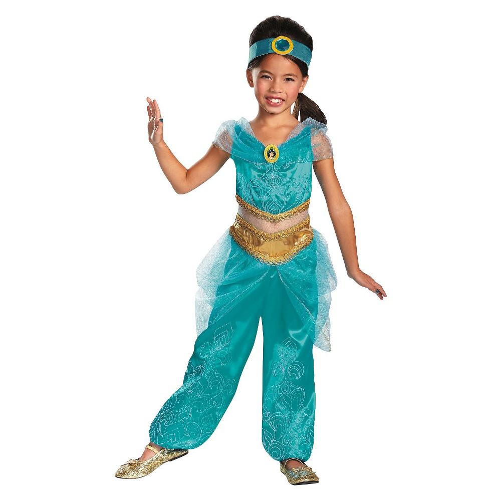 Disney Princess Girls Jasmine Sparkle Deluxe Costume Small (4-6)