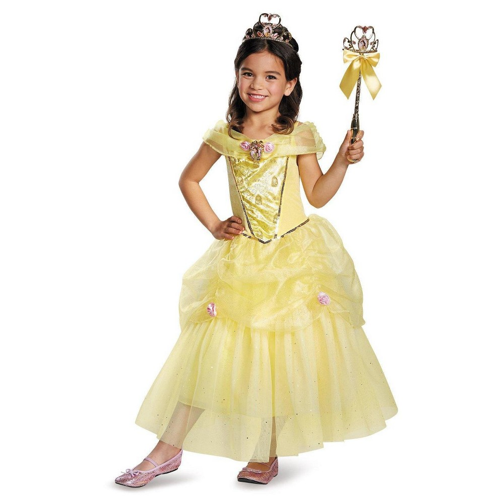 Disney Princess Girls Belle Sparkle Deluxe Costume Small (4-6)