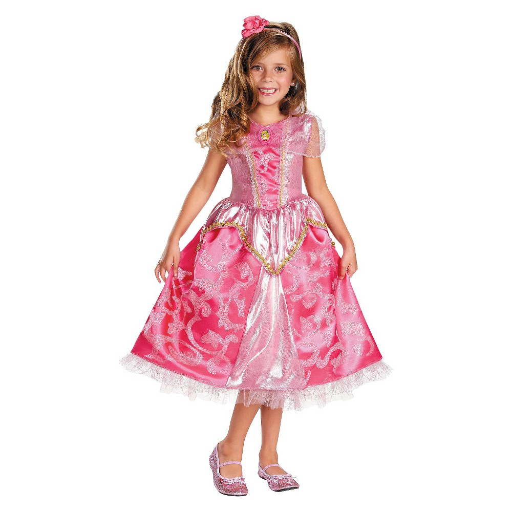 Disney Princess Girls Aurora Sparkle Deluxe Costume Small (4-6)