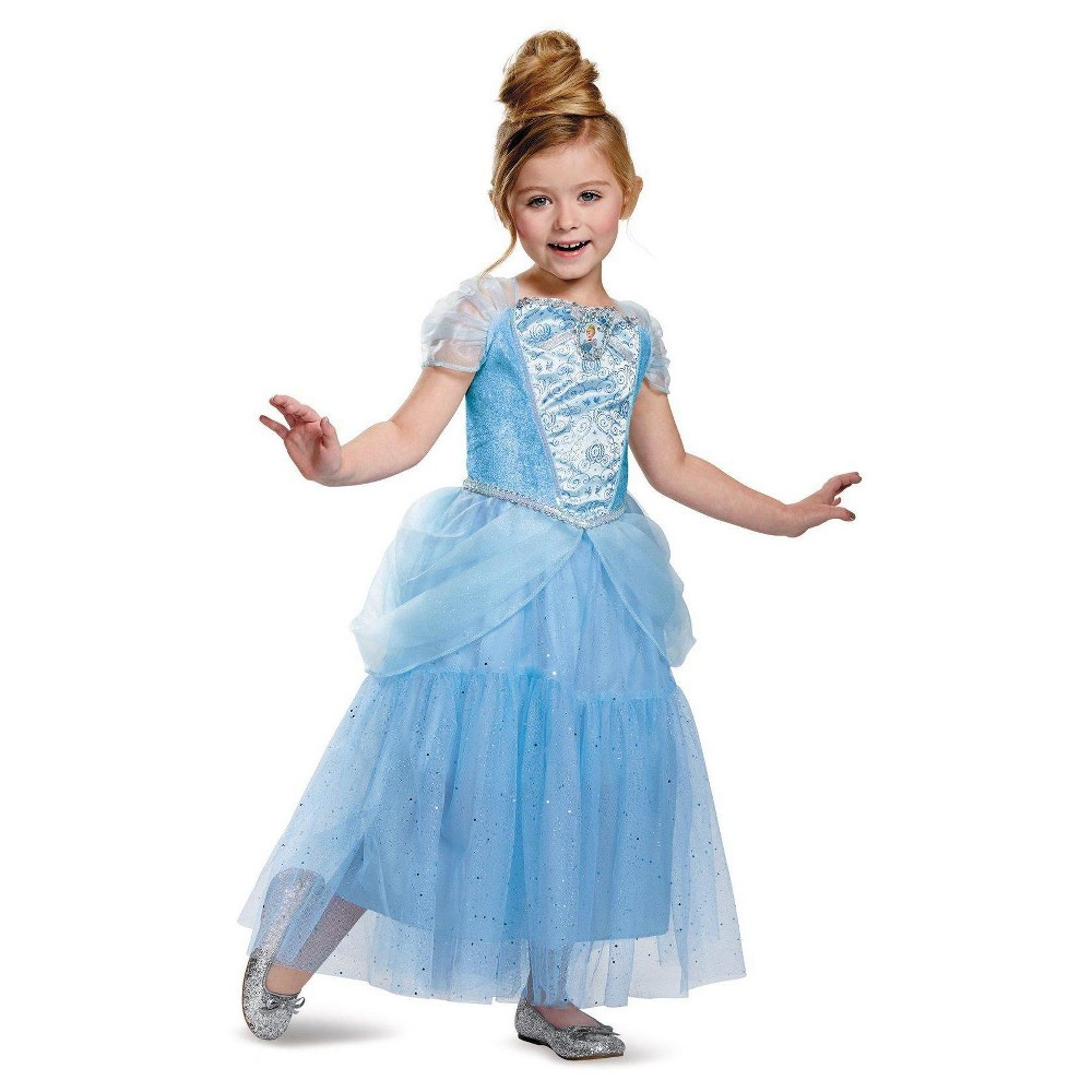 Disney Princess Girls Cinderella Sparkle Deluxe Costume Small (4-6)