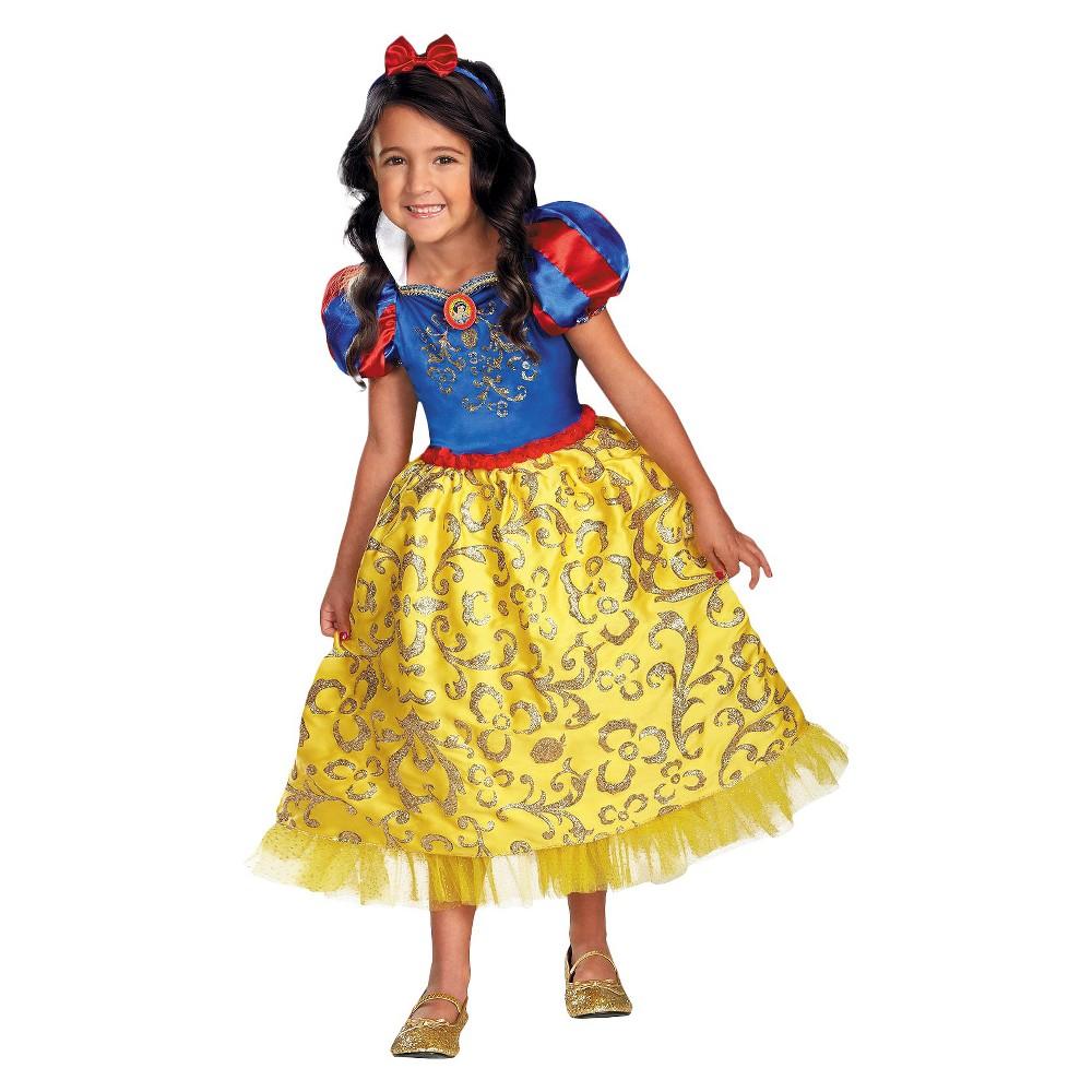Disney Princess Girls Snow White Sparkle Deluxe Costume Small (4-6)