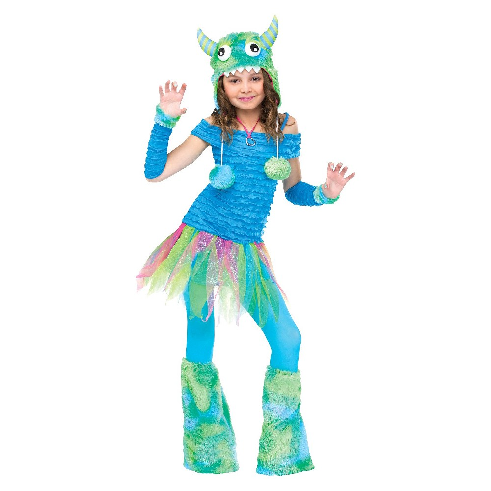 Girls Blue Beasty Costume Medium (8-10), Size: M(8-10), Variation Parent