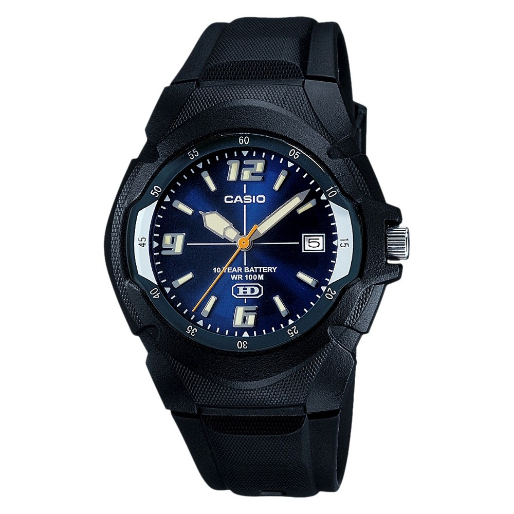 Mens Casio Dial Watch with 10 Year Battery - Blue/Black
