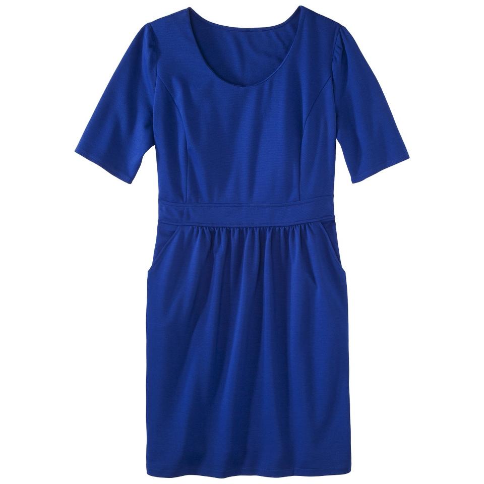 Mossimo Womens Plus Size Elbow Sleeve Ponte Dress   Blue 2