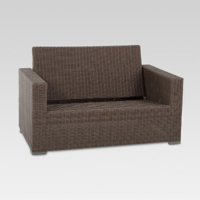 Perfect Heatherstone Wicker Patio Loveseat   Frame Only   Threshold™