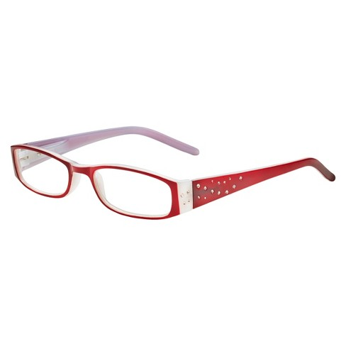 Wink Readers Rectangle +2.00 - White/Red Rhinestone - image 1 of 3