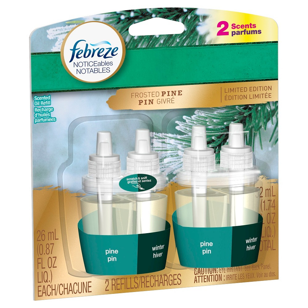 Febreze NOTICEables Frosted Pine Scented Oil Refill 2 ct, Green