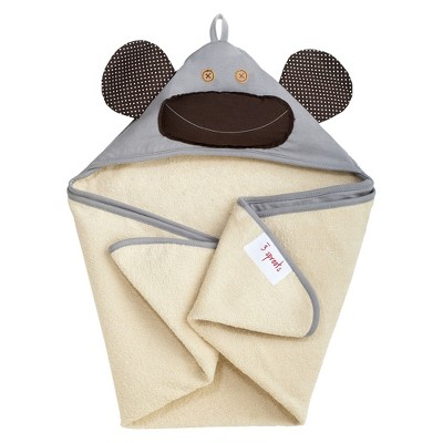 3 Sprouts Newborn/Infant Hooded Towel - Gray Monkey