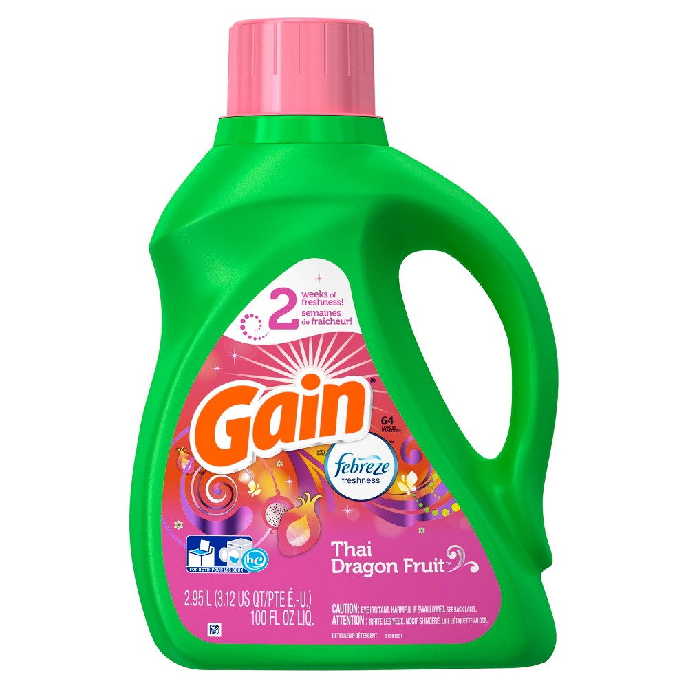 Gain with Febreze Hec Thai Dragon Fruit Liquid Laundry Detergent 100 oz