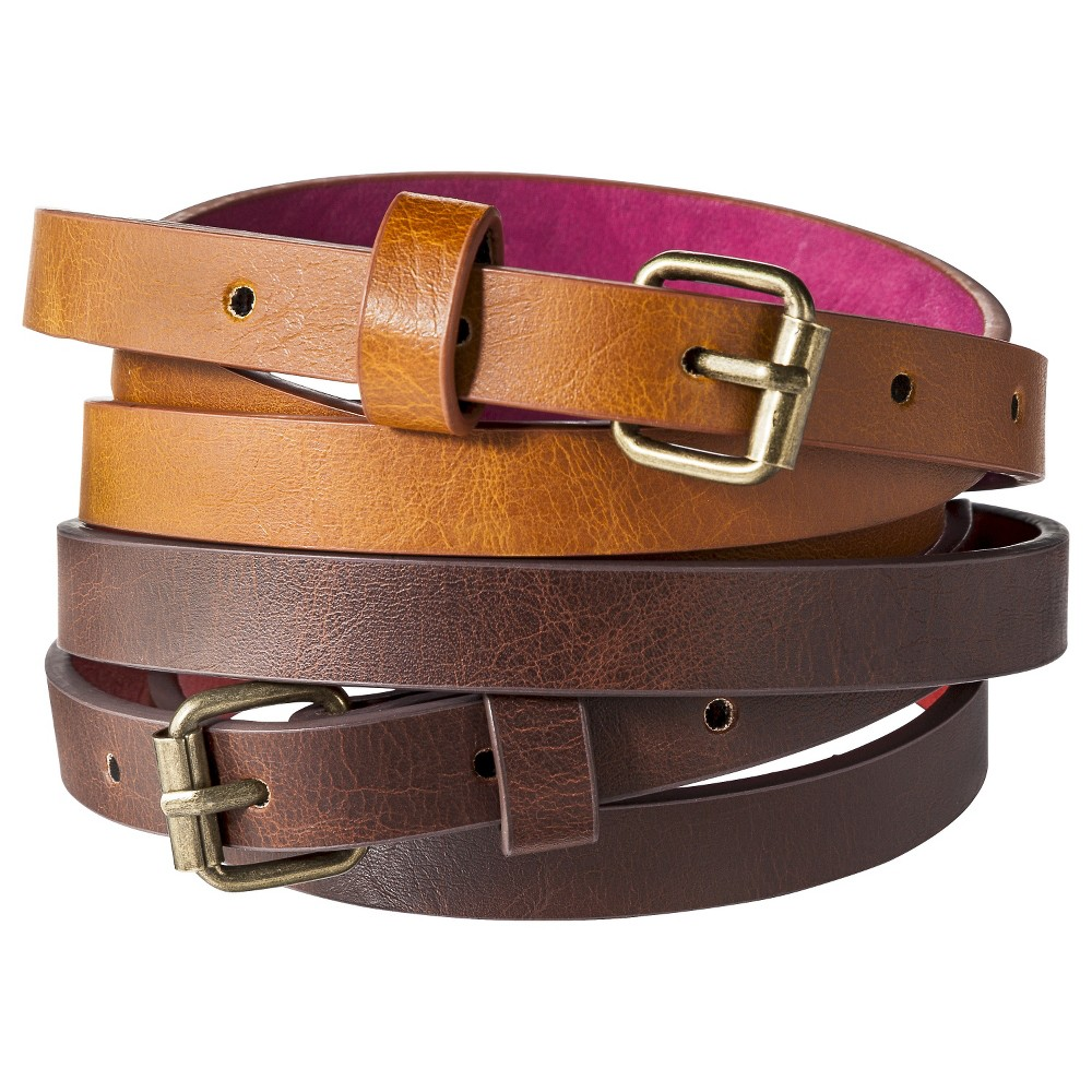 Mossimo Supply Co. Two Pack Skinny Belt - Brown L, Womens, Brown Beige