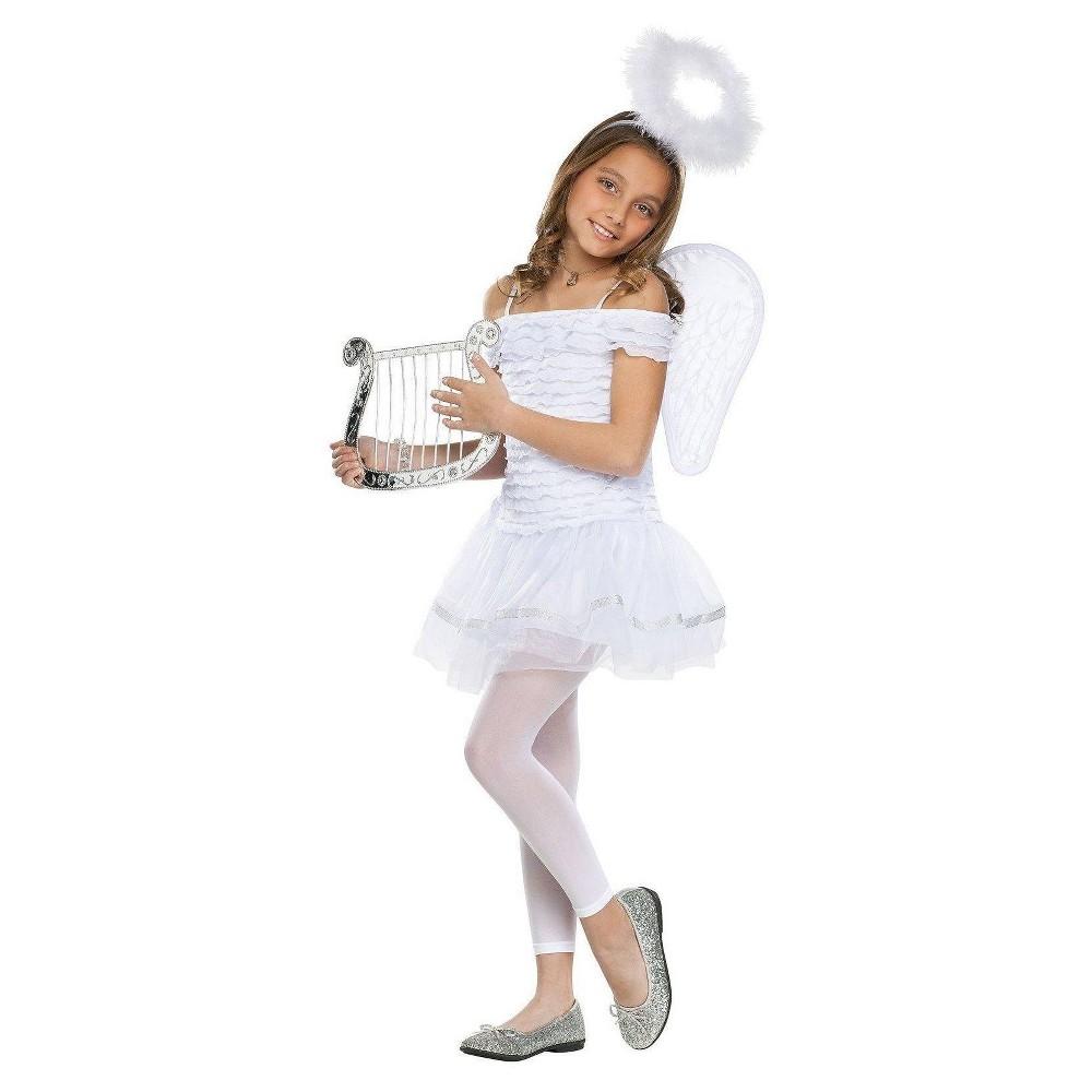 Fun World Girls' Little Angel Costume Medium, Size: M(8-10)