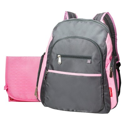 Fisher-Price Ripstop Diaper Bag Backpack - Gray & Pink