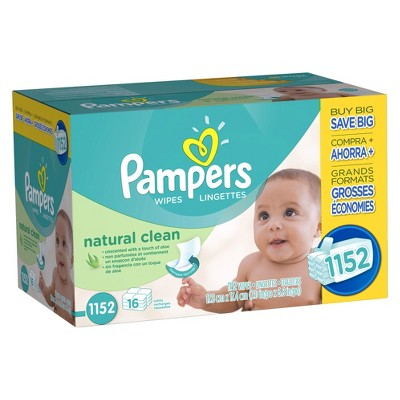 Pampers Natural Clean Baby Wipes - 1,152 ct